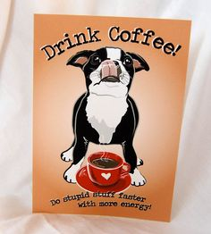 Café Boston Terrier 5 x 7 écoimpression par AfricanGrey sur Etsy