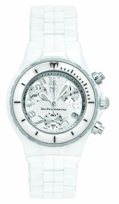 TechnoMarine Womens TC05C MoonSun Ceramic SilverPlated White Watch *** You can get more details by clicking on the image.