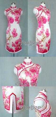 Floral silk cheongsam dress.