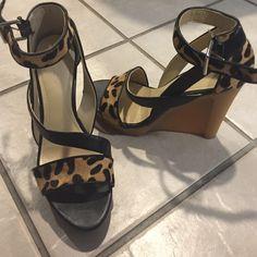 Calvin Klein leopard sandals Worn once.  Rubber heel. Like new! Calvin Klein Shoes Sandals