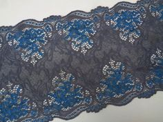 """Laverslace-Bleu Marine Large Floral Stretch Dentelle 6/""""//15 cm couture lingerie"""