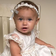 I like the slender headband! Leila Silk Christening Gown (Girl) | Baptism Outfits & Dresses