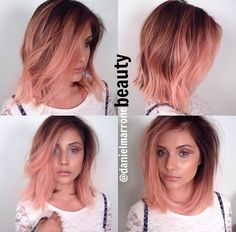 Rose gold pink blunt bob! So fresh but not too crazy...