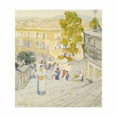 Childe Hassam - The Spanish Steps Of Rome  pretty color combo