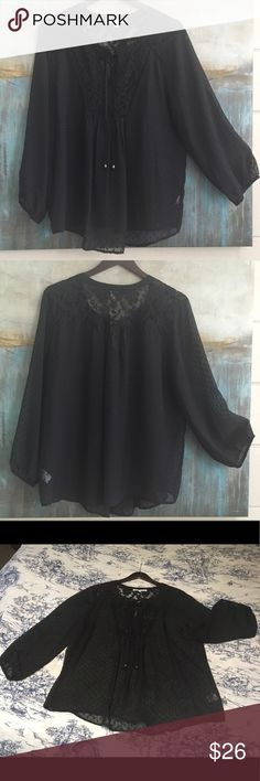 Anthropologie Daniel Rainn Sheer Tunic Size XL Oh so feminine Anthro Daniel Rainn sheer tunic with tie front neckline, 3/4 sleeves and lace detail on chest and back. Size XL. Color Black. Material Poly. Measurements shoulders: 17, pits: 24, top to bottom: 28. Anthropologie Tops Tunics
