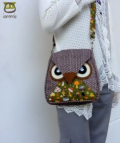Bamboo: Brown Flip Bag, Owl Bag, messenger bag, tote, animal, women, kid bag, children bag, fabric bag, girl bag, boy bag, green, mushroom on Etsy, $34.00