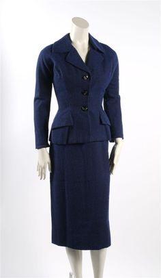 Christian Dior Navy Blue Wool Skirt Suit
