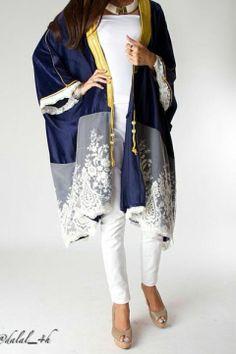 Dalal Maizi For more abaya… Abaya Fashion, Kimono Fashion, Modest Fashion, Muslim Women Fashion, Womens Fashion, Look Fashion, Fashion Design, Fashion Trends, Oriental Fashion