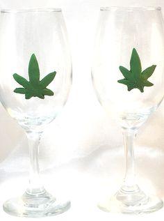 Hand Crafted Clay Hemp Leaf Set of 2 Wine Glasses  http://handpainted-glasses.com/shop/clayhemp