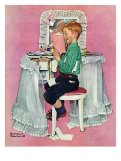 """""""Boy Reading his Sister's Diary"""", March 21,1942 Norman Rockwell"""