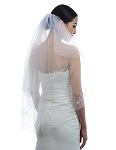 Topwedding Ivory 2 Tiers Fingertip Length Voile Wedding Veil with Pearls and Flowers *** More info could be found at the image url.-It is an affiliate link to Amazon.