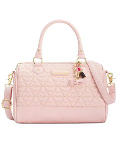 Betsey Johnson Blush Quilted Lips Satchel Handbags Purses And Purse