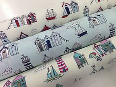 Designer Cotton Beach Huts Maritime Seaside Curtain Fabric Upholstery Blinds