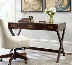 LOVE THIS for the home office in the guest room.  Devon Campaign Desk #potterybarn