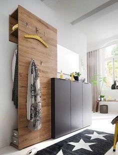 Garderobe anthrazit Eiche 3-teilig Garderobenmöbel Garderobenset Victoria 10