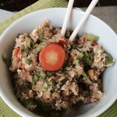 Dump the MSG filled take-out and make this delicious healthy quinoa fried rice recipe filled with protein, fiber, and rich Asian flavors!