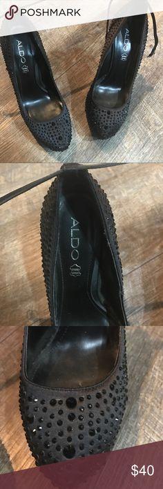 Black heels Aldo heels with Rhine stones. Size 38 with metal heel. Worn twice. Offers accepted 😊 Aldo Shoes Heels