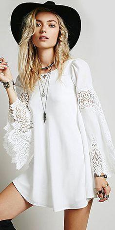 Fashion Lace Spliced Long Sleeve Loose Chiffon Dress