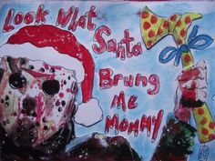 Christmas Cards and Stationeries Christmas Cards, Xmas, Jason Voorhees, Horror Movies, Stationery, Santa, Merry, Thrillers, Log Projects