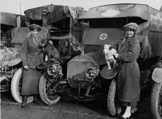 Red Cross ambulance drivers and their mascots