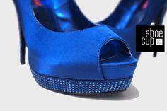 Bordello BELLA-12R Royal Blue Satin Pumps Front View Satin Pumps, Peep Toe Pumps, Stiletto Heels, Royal Blue Heels, Blue Satin, High Heels, Spike Heels, Stilettos, Womens High Heels