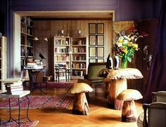 cool living room with mushroom tables, paris
