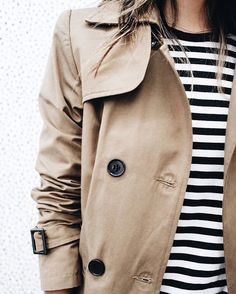 Trench coat & stripe t-shirt | @styleminimalism