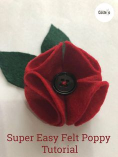 Super Easy Felt Poppy Tutorial - Casa Costello - - Step-by-step tutorial to make Super Easy Felt Poppies. Can be used for on a wreath or as a Poppy Brooch. Felt Flowers Patterns, Felt Patterns, Fabric Flowers, Felt Butterfly Pattern, Felt Crafts Diy, Felt Diy, Handmade Felt, Paper Crafts, Poppy Pins