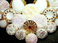 white and gold vintage glass buttons