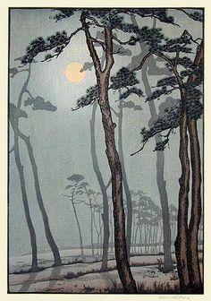 hanga gallery . . . torii gallery: Pines at Bournemouth by Yoshijiro Urushibara