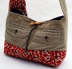 upcycled corduroy bag