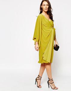 Image 4 ofASOS Maternity Asymmetric One Shoulder Wrap Midi Dress