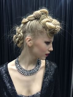 #braids Four 4-strand braids  Prep hair with Pravana NEVO Invisible Control for heat protection. Lightly spray each section with NEVO Super Shape Hair Spray and Micro Crimp on a Sam Villa Textur Iron Hair & Makeup: Sherri Jessee  iphone pic: Sherri Jessee at America's Beauty Show www.sherrijessee.com