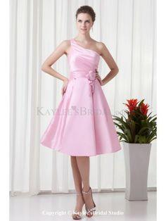 Taffeta One-shoulder Neckline Corset Knee-Length Hand-made Flower Cocktail Dress