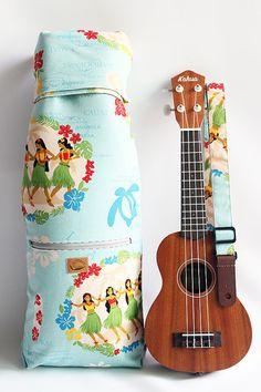 Soprano ukulele case & strap / hula girl light blue / by ukuhappy