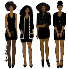 Four ways to wear the same little black dress: -Dressy w/ simple heels & clutch -Casual w/ oversized cardigan & ballet flats -Edgy w/ Moto jacket & strappy/gladiator heels -Preppy w/ cardigan, Mary Jane heels & pearls