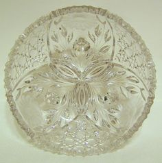 Large Ornate Clear Glass Etched Bowl #OrnateDesigns