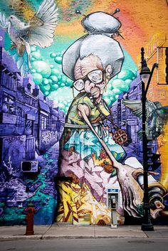 Streetart Montreal Location: Saint-Laurent boulevard / Des Pins avenue Artist: A'SHOP (My favorite!)