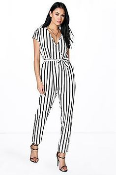 Jenna Capped Sleeve Striped Jumpsuit