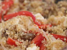 Quinoa com tofu e pimento - Sem amendoim/frutos de casca rija, Sem chocolate, Sem frutos vermelhos, Sem glúten, Sem leite, Sem mariscos ou moluscos, Sem ovo, Sem peixe, Sem sésamo