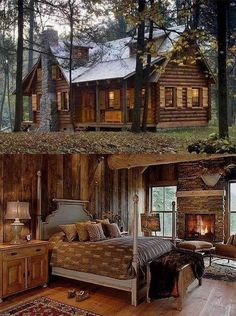Cabins And Cottages: Perfect little cabin in the woods 💜 Log Cabin Living, Log Cabin Homes, Log Cabins, Small Log Cabin, Mountain Cabins, Log Cabin Bedrooms, Cozy Living, Log Home Interiors, Log Home Decorating