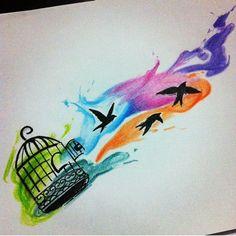 Desenho disponível para Tattoo! Contato (13) 9 9719-8707 #watercolor #watercolortattoo #tattoo #tatuagem #tatuagemfeminina #tatuagensfemininas #aquarela #swallow #bird #freedom #sketch #art #arte #inspiração #tattooaquarela #tattoo4life