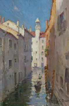 """''A Little Canal in Venice,"""" Benjamin Chambers Brown, oil on board, 9 x 6'', private collection."""