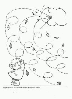 Fall Windy Day line worksheet for kids - Curly lines Mehr Preschool Weather, Weather Activities, Autumn Activities, Preschool Lessons, Preschool Worksheets, Preschool Crafts, Kids Crafts, Toddler Worksheets, Coloring Worksheets