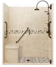 Freedom Access Threshold Collection Tuscany Alcove Shower Kit - American Bath Factory - November 09 2019 at Budget Bathroom Remodel, Bath Remodel, Bathroom Renovations, Tub To Shower Remodel, New Bathroom Ideas, Bathroom Inspiration, Small Bathroom, Gold Bathroom, Bathroom Bin