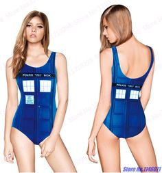New York City Bodysuit Sexy High Cut Swimsuit Blue Police Box Swimwear Back Cut Out Bathing Suit Push Up Girls One Piece Biquini
