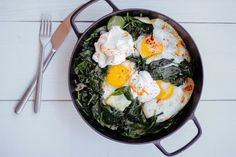 BAKED EGGS WITH SPINACH, YOGURT, AND CHILI OIL by Kettle