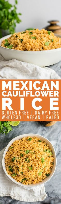 This whole30 Mexican cauliflower rice is the perfect side dish for your Mexican style meals! Paleo, vegan, grain free and ready in 10 minutes! Perfect for meal prep as well! | #whole30 #vegan #paleo #mexcian | bitesofwellness.com