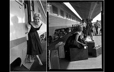 Kim Novak steps off the train at Los Angeles' Union Station upon her return from the Cannes Film Festival on July 10, 1956.