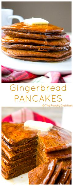 Gingerbread Pancakes are a delicious addition to a holiday brunch or for a lazy weekend during the winter. Fluffy buttermilk pancakes made with whole grains and packed with warming spices like ginger, nutmeg, and cinnamon. | @TheFoodieDietitian